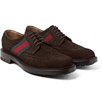 Gucci Webbing Trimmed Suede Wingtip Brogues Dark Brown