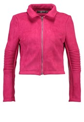 Missguided Petite Faux Leather Jacket Fusha Pink