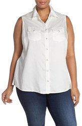 Plus Size Women's Foxcroft Sleeveless Snap Front Denim Shirt
