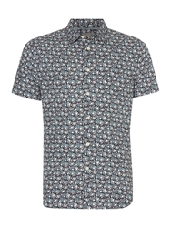 Linea Dale Ditsy Floral Print Short Sleeve Shirt Navy