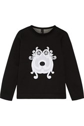Mother Of Pearl Edith Embroidered Bonded Jersey Sweatshirt Black