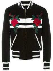 Dolce And Gabbana Rose Patch Striped Bomber Jacket Black