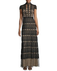 Catherine Deane Firenze Lace And Point D'esprit A Line Gown Size 8 Black Brown