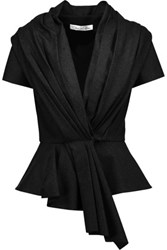 Oscar De La Renta Pleated Wool Blend Peplum Jacket Charcoal