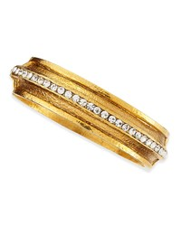 Hammered Gold Plated 1 Row Crystal Bracelet Jose And Maria Barrera