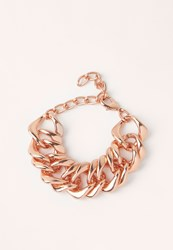 Missguided Matte Chunky Chain Bracelet Rose Gold