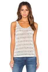 Bella Luxx Mesh Stripe Tank Cream