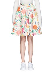 Chictopia Floral Print Wool Blend Flare Skirt Multi Colour