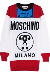 Moschino Oversized Intarsia Wool Sweater White