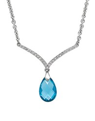 Lord And Taylor Blue Topaz Diamond Sterling Silver Pendant Necklace