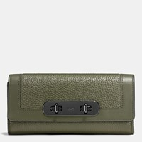 Coach Swagger Slim Envelope Wallet In Colorblock Leather Dark Gunmetal Surplus Multi