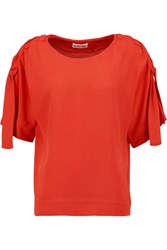 See By Chloe Laced Shoulder Crepe Top Red