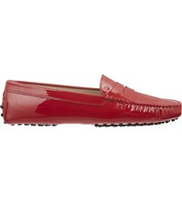 Tod's Patent Leather Mocassino Loafers Red