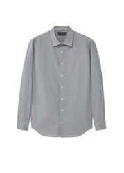 Mango Slim Fit Micro Check Shirt Grey