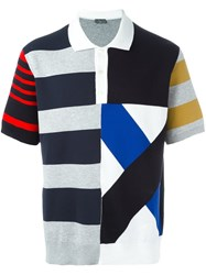 Christian Dior Homme Striped Polo Shirt Blue