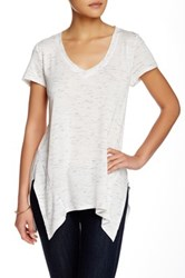 Gibson V Neck Space Dye Tee Petite White