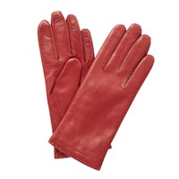 John Lewis Cashmere Lined Leather Gloves Red