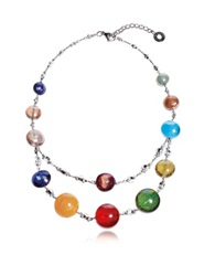 Antica Murrina Veneziana Redentore 3 Multicolor Murano Glass And Silver Leaf Choker
