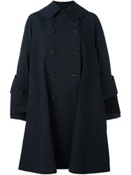 Comme Des Garcons Double Breasted Folded Cuffs Coat Blue