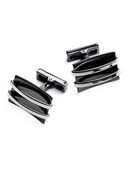 Kenneth Cole Layered Cuff Links Silver