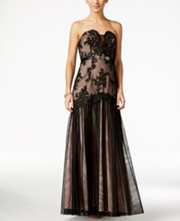 B Darlin Juniors' Strapless Lace Mermaid Gown Black Blush