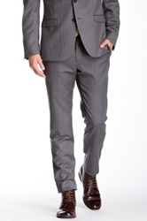 Ben Sherman Camden Grey Flannel Solid Wool Suit Separates Pant Gray