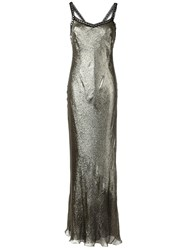 Alberta Ferretti Metallic Grey Long Dress
