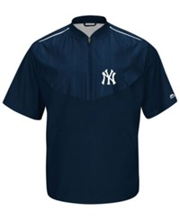 Majestic Men's Short Sleeve New York Yankees Authentic Collection Training Jacket Navy