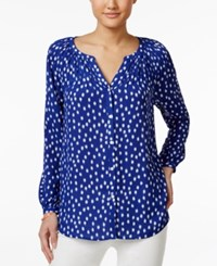 Charter Club Petite Button Down Printed Blouse Only At Macy's Modern Blue