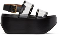 Marni Black Leather And Vinyl Wedge Sandals