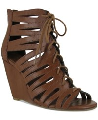 Mia Issy Lace Up Wedge Sandals Women's Shoes Luggage