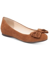 Jessica Simpson Madian Fringed Bow Flats Women's Shoes Canela Brown
