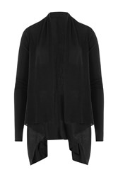 Rick Owens Draped Cotton Cardigan Black