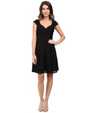 Adrianna Papell Seamed Juliet Lace Fit And Flare Dress Black Women's Dress