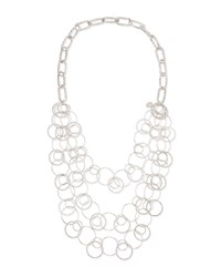 Long Rhodium Electroplate Multi Circle Necklace Devon Leigh Silver
