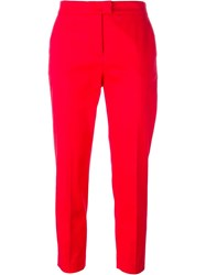 Msgm Cropped Trousers Red
