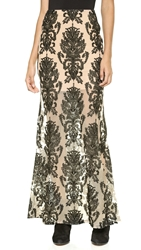 For Love And Lemons Ethereal Maxi Skirt Black And Nude