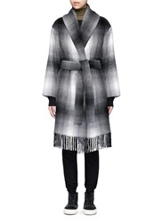 Alexander Wang Fringed Hem Plaid Wool Blend Coat Multi Colour