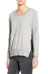 Pam And Gela Women's Side Slit Destroyed Pullover