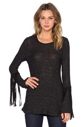 Michael Lauren Neka Long Sleeve Fringe Tee Black