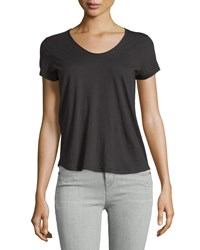 Vince Rounded V Neck Jersey Tee Black