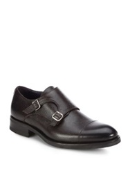 Isaia Pebbled Leather Double Monk Strap Shoes Brown