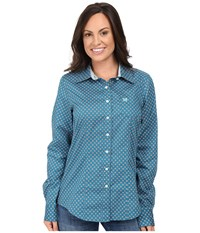 Cinch Cotton Plain Weave Print Teal Women's Clothing Blue