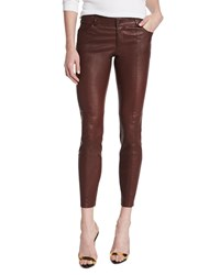 Haute Hippie Low Rise Leather Skinny Pants Bordeaux