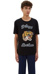 Gucci Embroidered Tiger Crew Neck T Shirt