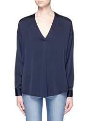 Vince 'Crossover Vee' V Neck Silk Georgette Blouse Blue