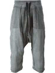 Lost And Found Drop Crotch Cropped Trousers Grey