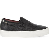 Maje Finyl Leather Trainers Black