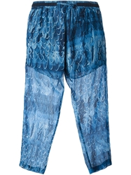Amen Cropped Printed Trousers Blue