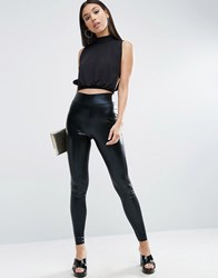 Asos High Waisted Wet Look Leggings Black